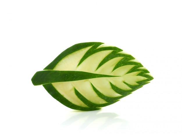 Cucumber carved into leaf shape Premium Photo