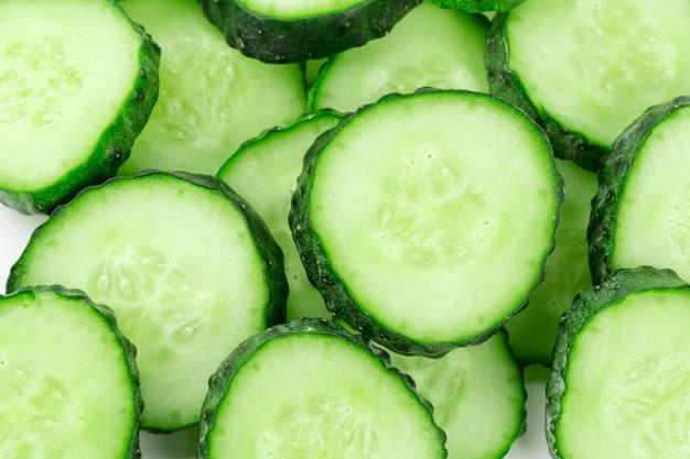Cucumber sliced isolated on white background Premium Photo