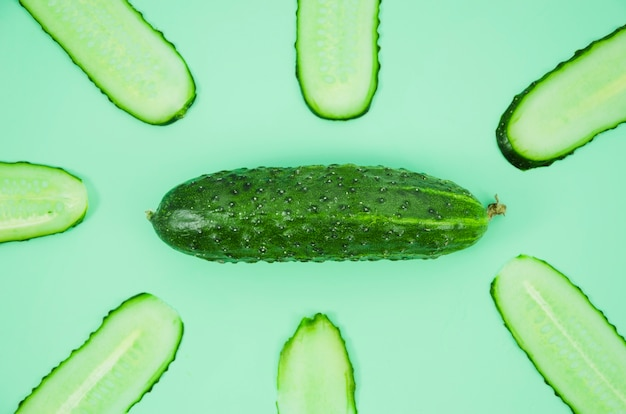 Cucumber slices from top view Free Photo