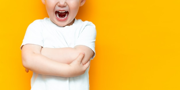 Cue little 3 years old boy standing and open hos mouth shout loudly, arms folded on chest, in white t-shirt Premium Photo