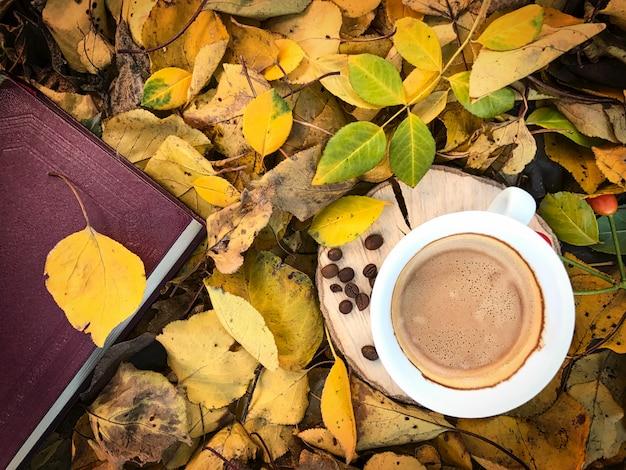 Cup of black coffee among the fallen autumn foliage Premium Photo