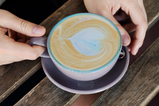 Cup of cappuccino, latte, coffee for lovers. Premium Photo