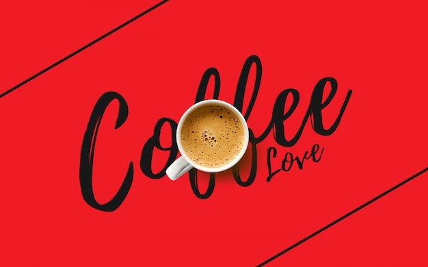 Cup of coffee on red background. top view Premium Photo
