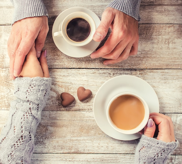 A cup of coffee. selective focus. couple. Premium Photo