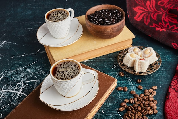 A cup of coffee with lokum and chocolate. Free Photo