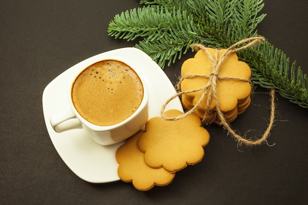 Coffee Christmas Morning.Cup Of Coffee With Milk Crema And Ginger Cookies Christmas