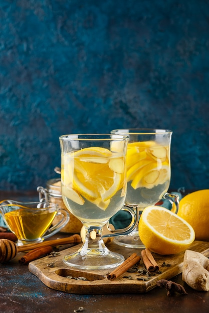 Cup of ginger tea with honey and lemon Premium Photo