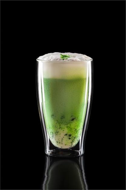 Cup of green tea matcha latte isolated Premium Photo