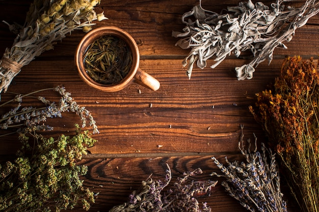 Cup of herbal tea with plants Free Photo