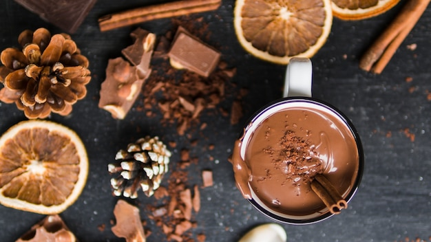 Cup of hot chocolate with winter decoration Free Photo