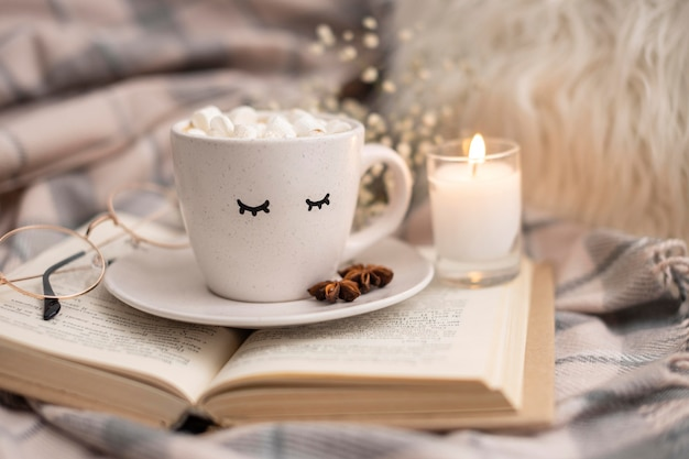 Cup of hot cocoa with marshmallows on book with candle Free Photo