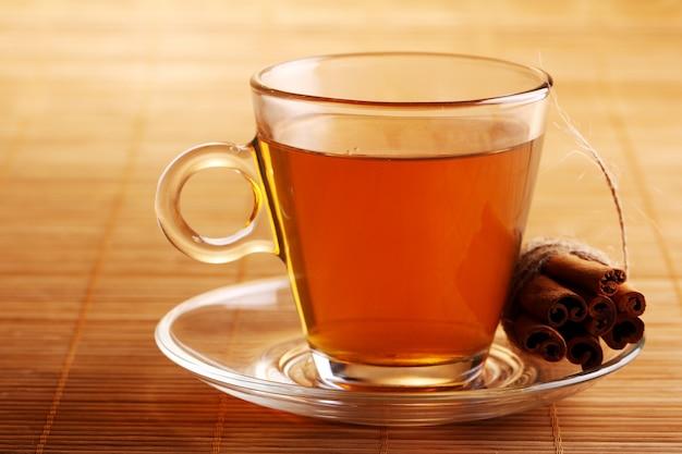 Cup of hot tea and cinnamon sticks Free Photo