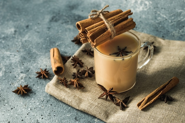 Cup of masala tea with cinnamon and star anise Premium Photo