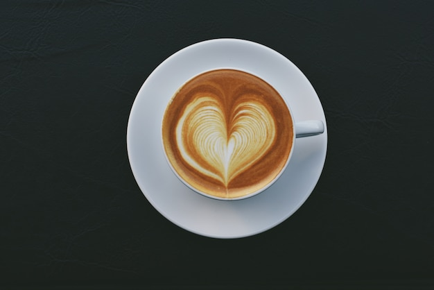 Cup Of Coffee With A Drawn Heart Photo Free Download