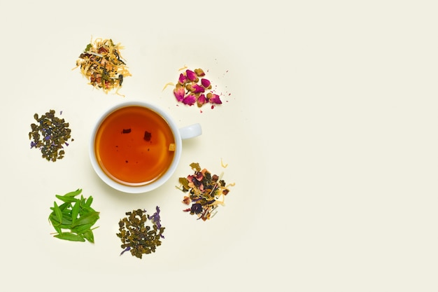 Cup of tea, placer of dry fruit tea Free Photo