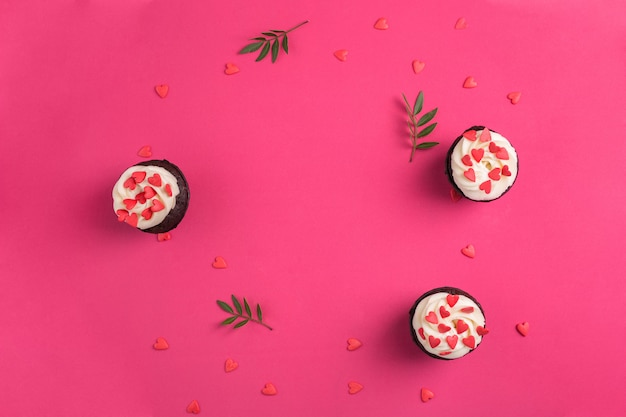 Cupcake decorated with hearts. love. valentine's day concept. copy-space, top view. Premium Photo