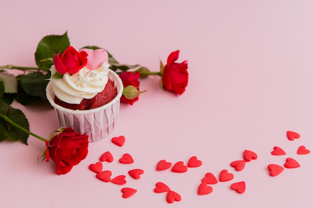 Premium Photo Cupcake Roses And Hearts On A Pink Chocolate Cupcakes Decorated With Cream Rose