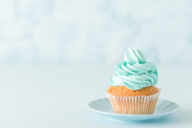 Cupcake with blue cream decoration on plate - blue pastel horizontal banner Premium Photo