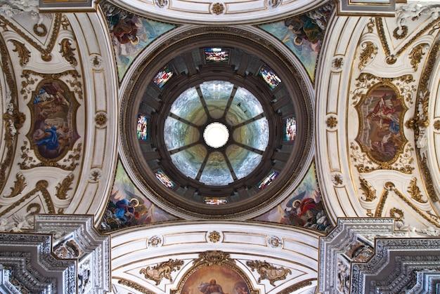 Cupola and ceiling of church la chiesa del gesu or casa professa in palermo Premium Photo