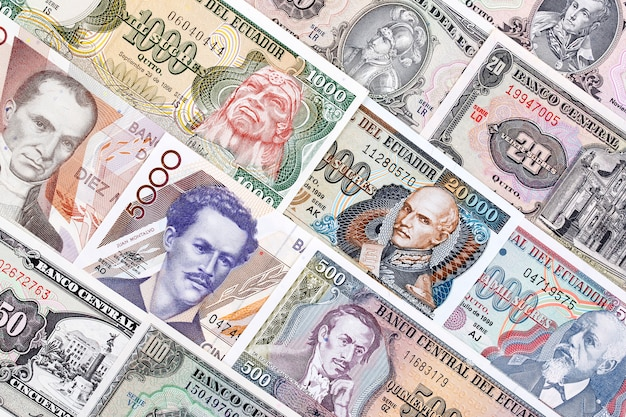 Currency of ecuador, a background Premium Photo