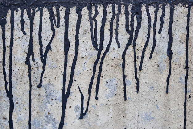 The current black paint on a rough faded wall. Premium Photo