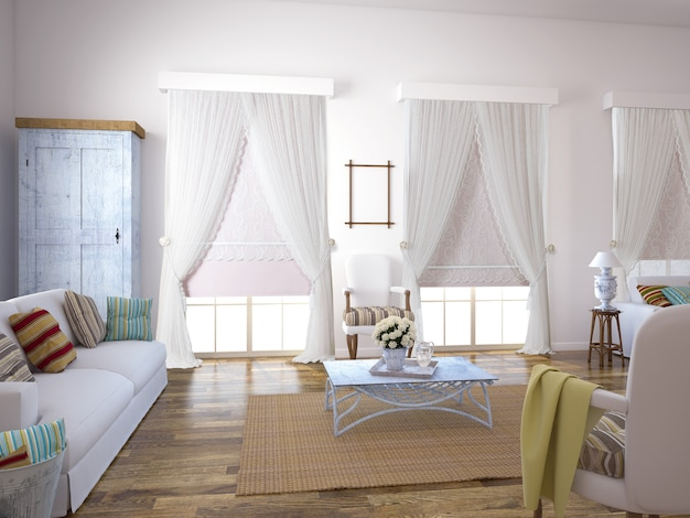 Curtain window with decorative Premium Photo