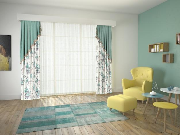 Curtain window with decorative Premium Photo