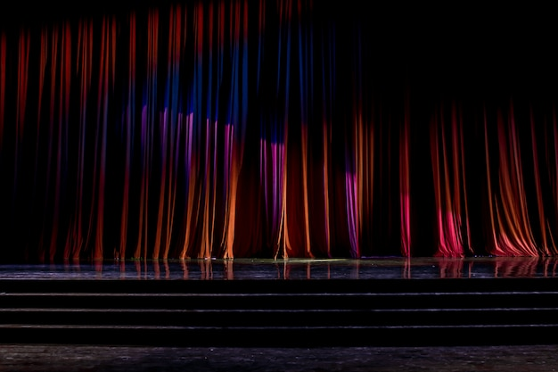 Curtains and wooden stage. Premium Photo