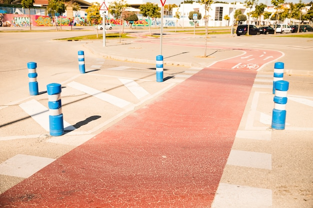 Curved bicycle lane in the park Free Photo