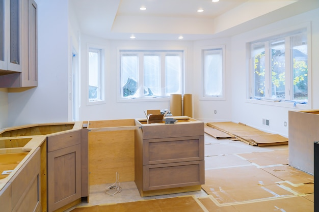 Custom kitchen in various of installation base cabinets Premium Photo