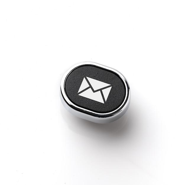 Customer service & contact us icon on the retro keyboard Premium Photo