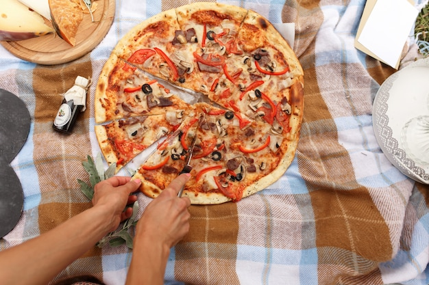 Cut pizza at picnic in sunday park Premium Photo