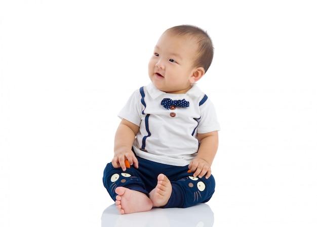 Cute asian boy isolated on white Premium Photo