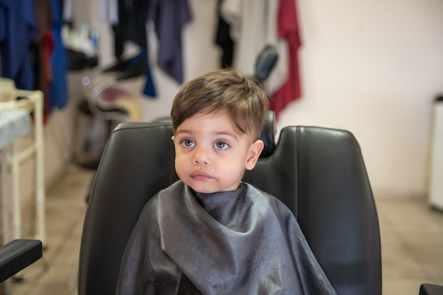 Cute Baby Boy Toddler Cutting Hair Photo Premium Download