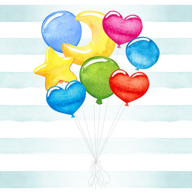Cute baby, colorful, watercolor balloons Premium Photo