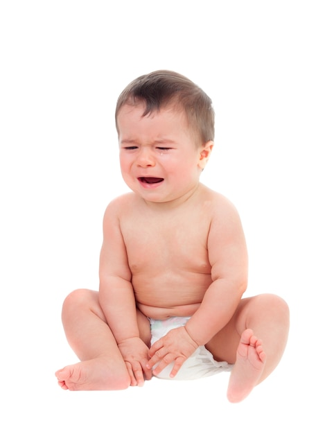 Cute baby in diaper crying Premium Photo