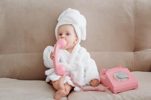 Cute Baby Girl In White Bathrobe Photo Free Download