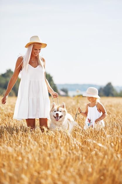 Милая девочка с мамой и собакой на пшеничном поле. счастливая молодая семья наслаждается временем вместе на природе. мама, маленькая девочка и собака хаски отдыхают на открытом воздухе. единение, любовь, концепция счастья. Premium Фотографии