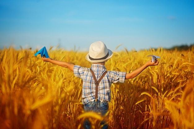 Cute child walking in the wheat golden field on a sunny summer day. boy starts paper plane. nature in the country.back view. Premium Photo