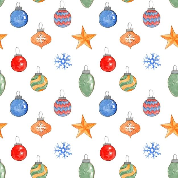 Симпатичные рождественские бесшовные модели с акварельными шарами, звездами и снежинками Premium Фотографии