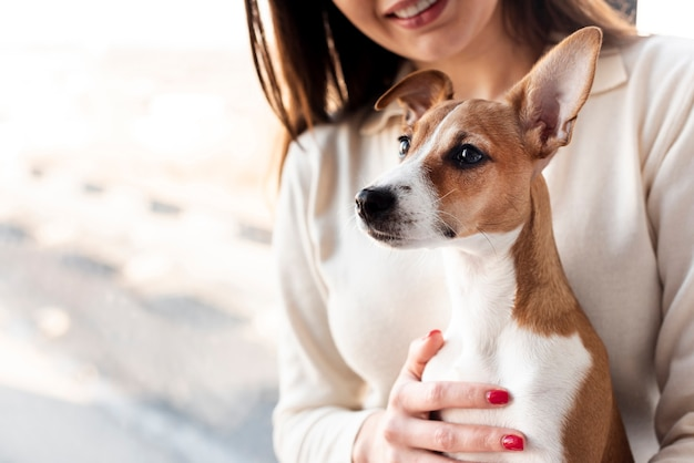 Cute dog held by smiley woman Free Photo