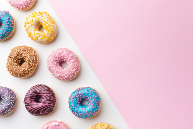 Cute donuts with copy space Free Photo