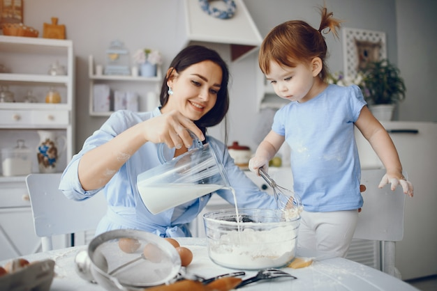 Cute family prepare the breakfest in a kitchen Free Photo