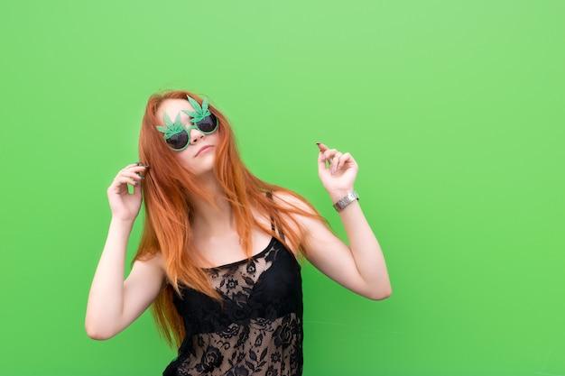 Cute girl in funny sunglasses Premium Photo