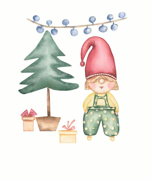 Милая рождественская открытка гнома и зимние подарки около рождественской елки. набор акварели изолированных иллюстрация Premium Фотографии