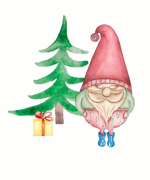 Милый гномик с зимним подарком возле елки Premium Фотографии