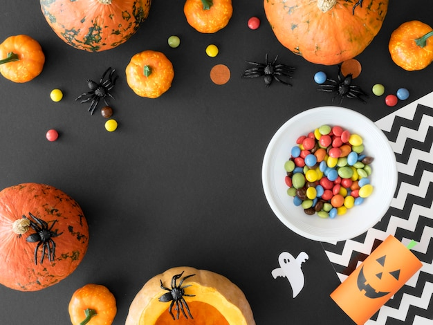 Cute halloween concept with copy space Premium Photo