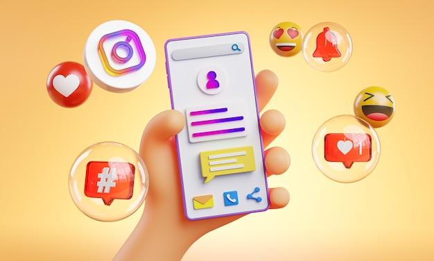 Cute hand holding phone instagram icons around 3d rendering Premium Photo
