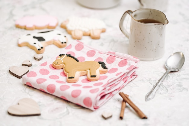 Cute hand made cookies in a shape of animals Premium Photo