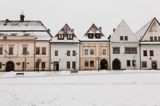 Cute houses in winter Free Photo